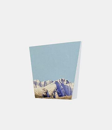 TYLER BEARD, MOUNTAIN (BLUE) collage on paper, framed
