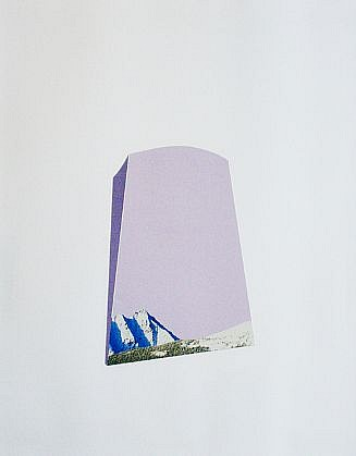TYLER BEARD, MOUNTAIN (PINK) collage on paper, framed