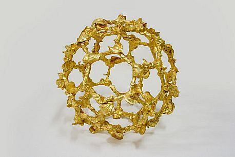 MARY EHRIN, BAROQUE BUCKYBALL Air-dried porcelain, 23 ct. gold leaf on mirored pedesta with Plexi box