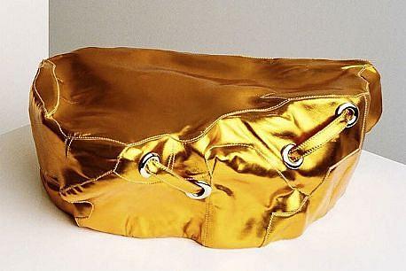 MARY EHRIN, METALLIC ORANGE EXPERIENCE ROCK metallic leather, thread, polished nickel and resin armature