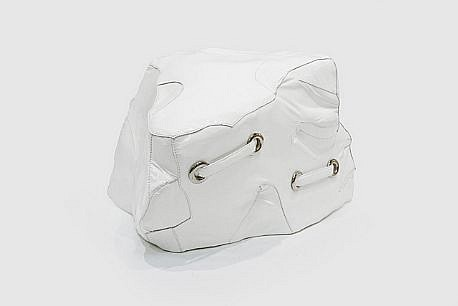 MARY EHRIN, WHITE HOT ROCK patent leather, thread, polished nickel and resin armature