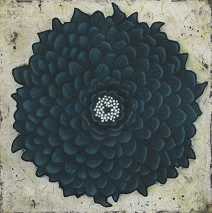 RON FUNDINGSLAND, BLUE ZINNIA aquatint and etching