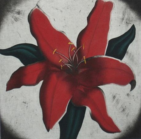 RON FUNDINGSLAND, RED LILY aquatint