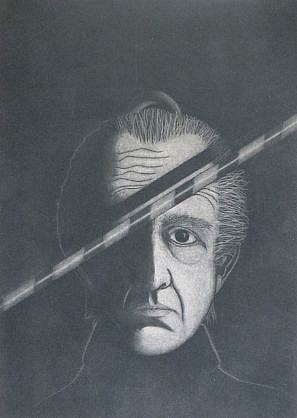 RON FUNDINGSLAND, SELF-PORTRAIT mezzotint