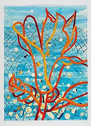 ANA MARIA HERNANDO, FUEGOS COGEN BIELO (Fires Take Flight) acrylic, collage and oil on paper