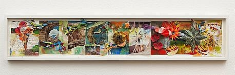 JUDY PFAFF, WESTERN EASTERN National Geographic pages, encaustic, folded paper, origami, melted plastic