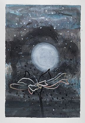 ANA MARIA HERNANDO, NIEVE NEGRA CAYENDO EN UNA NOCHE (BLACK SNOW FALLING IN A WHITE NIGHT) acrylic and acrylic ink on paper