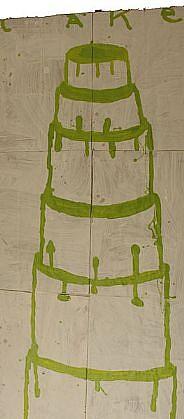 GARY KOMARIN, CAKE,  GREEN ON WHITE mixed media on paper