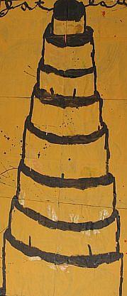 GARY KOMARIN, UNTITLED, BLACK ON YELLOW mixed media on paper