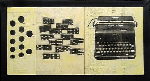 GARY EMRICH, Bones and Keys photo emulsion transfer on ledger paper on board