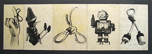 GARY EMRICH, EVOLUTION photo emulsion transfer on ledger paper on board