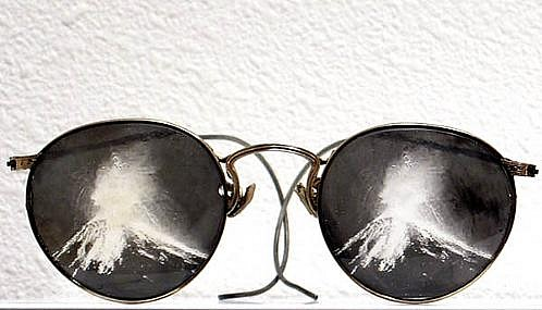 GARY EMRICH, UNTITLED (Volcano Glasses) photo emulsion transfer / eyeglasses