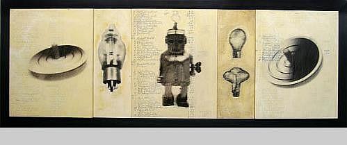 GARY EMRICH, WINDUP SPINNING LIGHT photo emulsion transfer on ledger paper on board