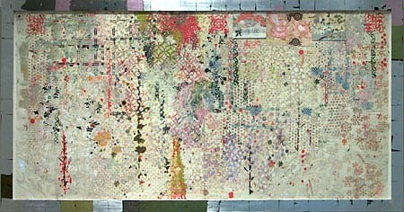 JUDY PFAFF, Bow Bells oilstick, encaustic & two antique drugstore receipts on Japanese paper