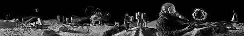 KAHN + SELESNICK, LUNAR PROCESSION 8/10 PANORAMIC SURVEY PHOTOGRAPH B/W quadtone print