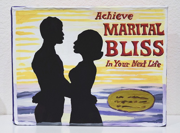 JEAN LOWE, ACHIEVE MARITAL BLISS (IN YOUR NEXT LIFE) casein on acid-free foam board