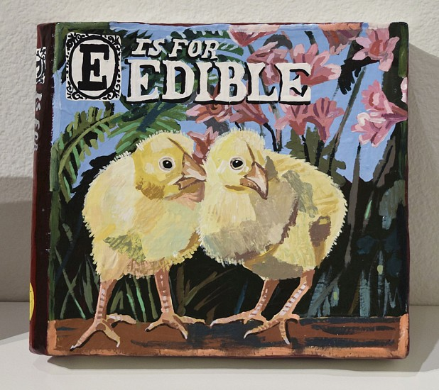 JEAN LOWE, E IS FOR EDIBLE enamel on papier mache