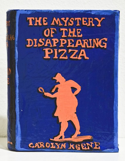 JEAN LOWE, THE MYSTERY OF THE DISAPPEARING PIZZA enamel on papier mache
