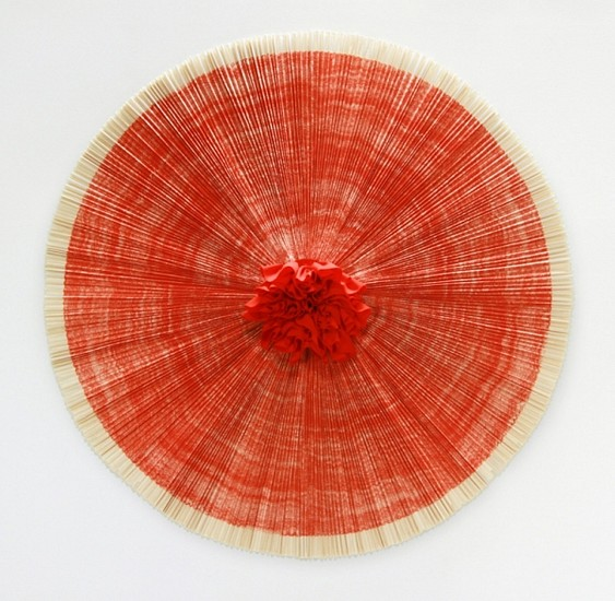 ANN HAMILTON, ciliary wall-mounted lithograph and fabric assemblage with bamboo support