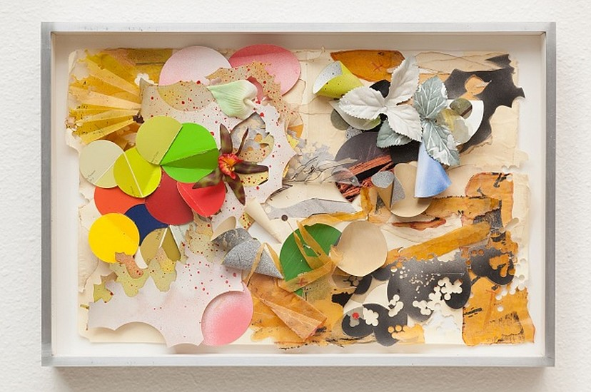 JUDY PFAFF, SING cut and dyed file folders with origami and artificial flowers