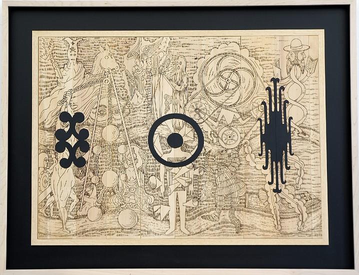 JOHN BUCK, BALLS cedar laser-cut woodblock, acrylic paint