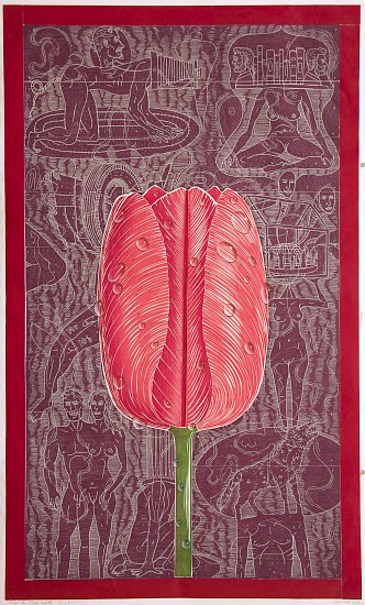 JOHN BUCK, TULIP FOR PATTI SMITH ED. 15 woodblock print