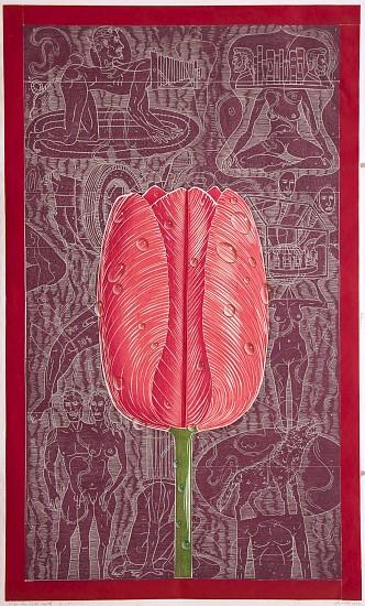 JOHN BUCK, TULIP FOR PATTI SMITH ED. 15 woodblock print