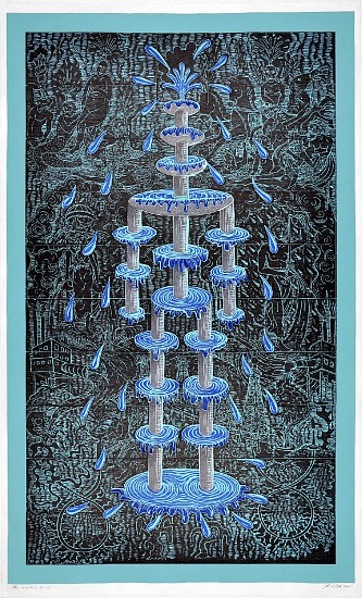 JOHN BUCK, THE FOUNTAIN ED. 15 woodblock print