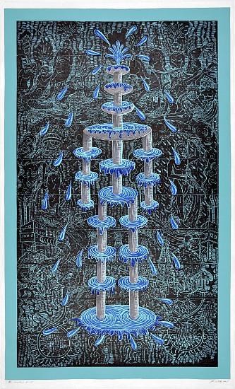 JOHN BUCK, THE FOUNTAIN ED. 15 woodblock print