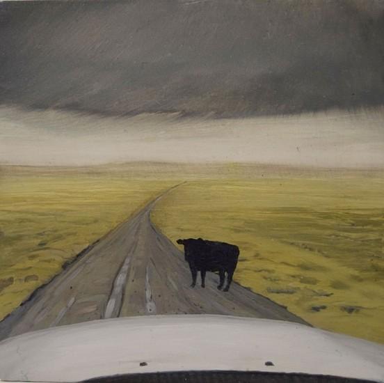 JIM CURSLEY, GLUM COW oil on panel