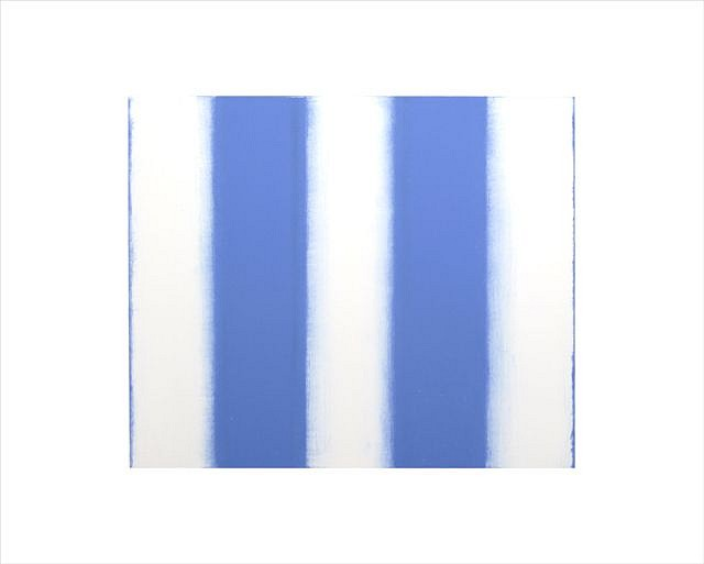 BETTY MERKEN, STRIPES, BLUE oil monotype