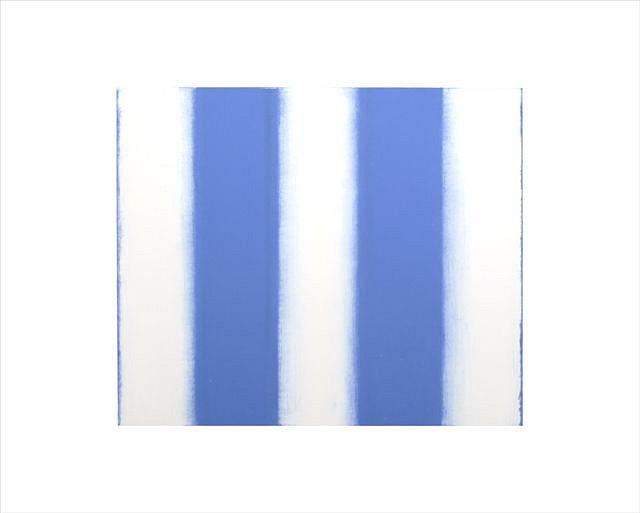 BETTY MERKEN, STRIPES, BLUE oil monotype