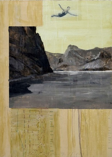 TOM JUDD, THE PASSING DAY oil with collage on panel