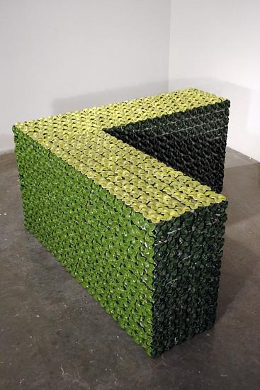 KIM DICKEY, MONOCHROME CORNER aluminum, glazed terracotta, silicone, rubber, grommets