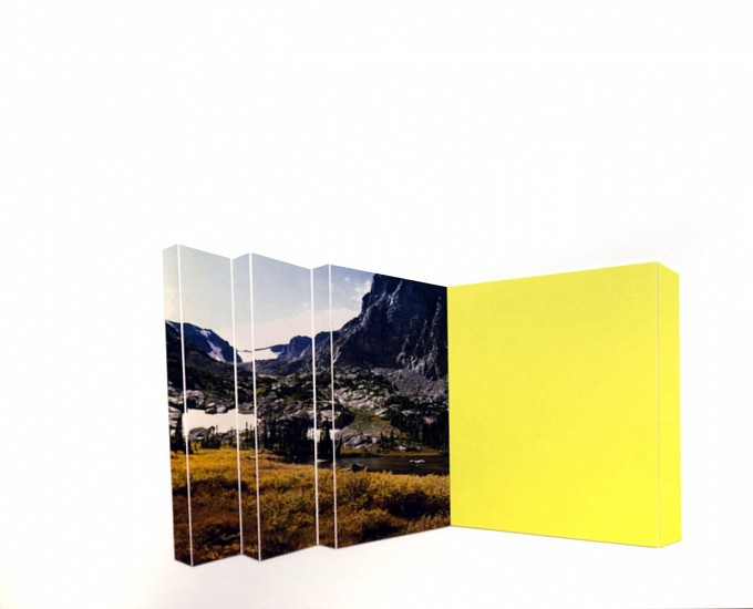TYLER BEARD, FALL MOUNTAIN WITH CHARTREUSE collage on paper