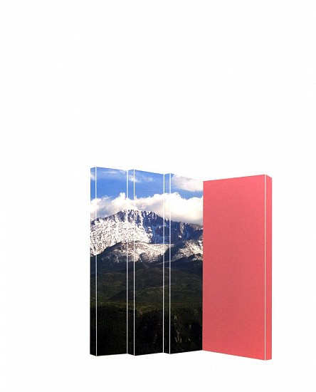 TYLER BEARD, MOUNTAINS WITH PALE RED collage on paper