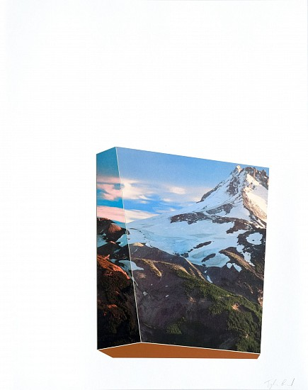 TYLER BEARD, SCULPTURAL PEAKS WITH RED collaged pigment print