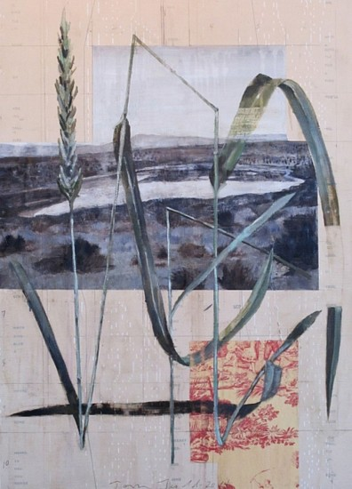 TOM JUDD, A BLUEBIRD SINGS oil with collage on panel