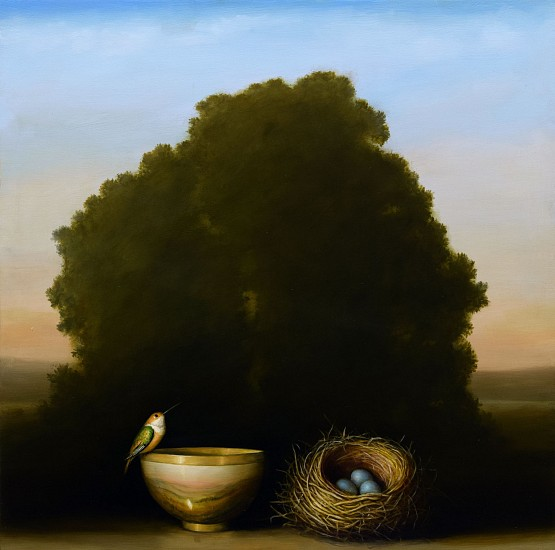 DAVID KROLL, BOWL AND NEST oil on panel