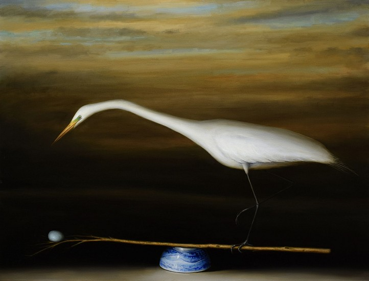 DAVID KROLL, EGRET AND BRANCH oil on linen
