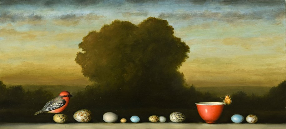 DAVID KROLL, TEN EGGS oil on panel
