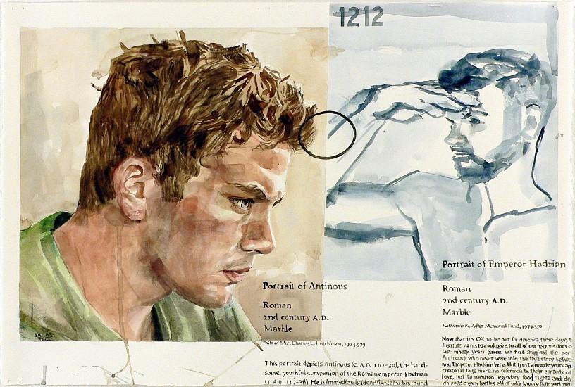 JACK BALAS, MUSE (ANTINOUS ET HADRIAN, EMPEROR) watercolor on paper