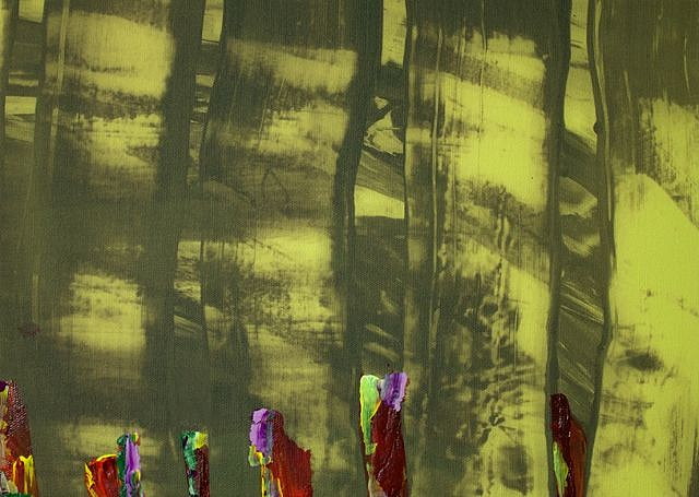 KATE PETLEY, OUTBURST acrylic  and unique digital print on canvas