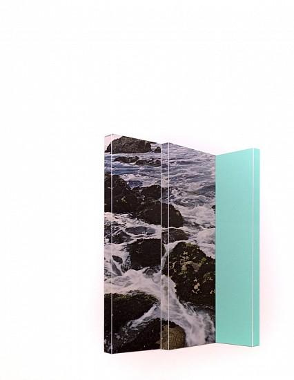 TYLER BEARD, ROCKS & OCEAN WITH SEA GREEN collage on paper
