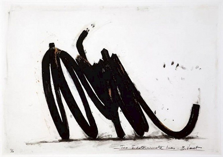 BERNAR VENET, TWO INDETERMINATE LINES  36/50  ep5 polymer gravure, etching, carborundum, wiping and photo-etching