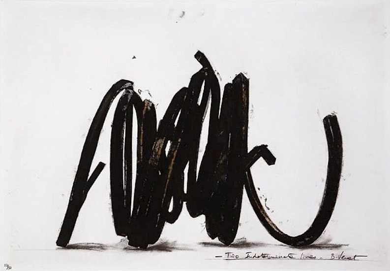 BERNAR VENET, TWO INDETERMINATE LINES  36/50  ep4 polymer gravure, etching, carborundum, wiping and photo-etching