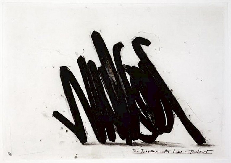 BERNAR VENET, TWO INDETERMINATE LINES  38/50  EP6 polymer gravure, etching, carborundum, wiping and photo-etching