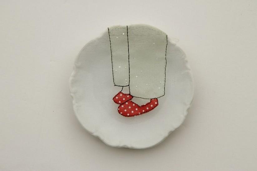 DIEM CHAU, RUBY SLIPPERS (#245) Porcelain plate, cotton, organza & thread
