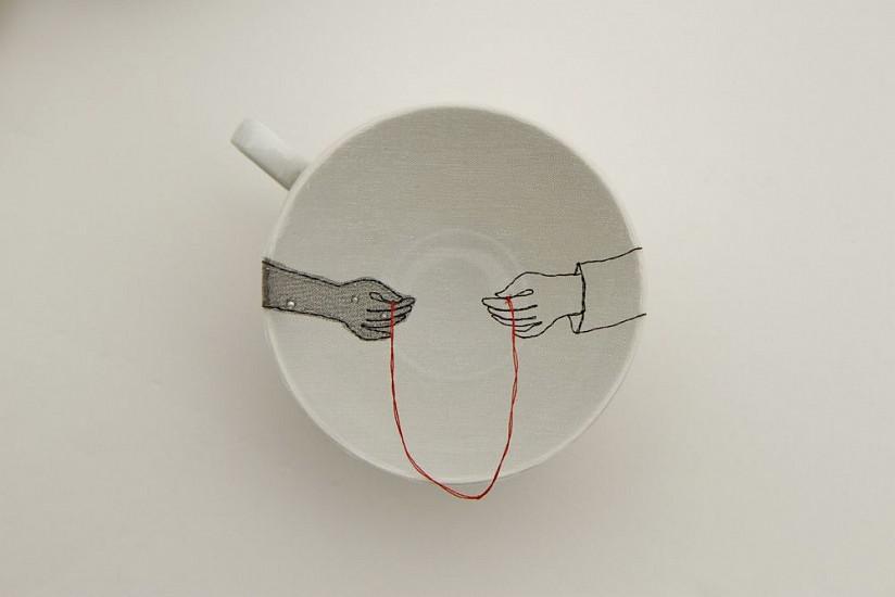 DIEM CHAU, UNION (#248) Porcelain plate, organza & thread