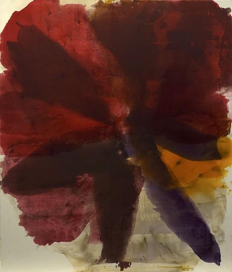 DIRK DE BRUYCKER, PENTADE, RED asphalt, cobalt drier, gesso and oil on canvas